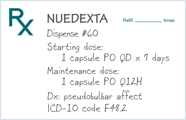 Example of NUEDEXTA patient prescription sheet