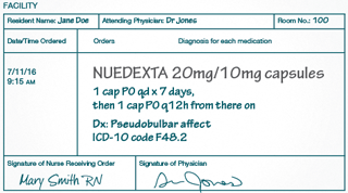 Ordering NUEDEXTA in long-term care